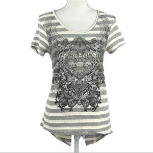 ANGELS & DIAMONDS | Gray & Cream Rhinestone Shirt
